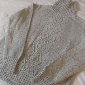 Sonoma Gray Speckled Cable Knit sweater M